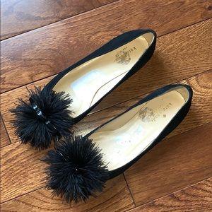 Kate Spade Black Fuzzy Pompom Bow Flats Rare
